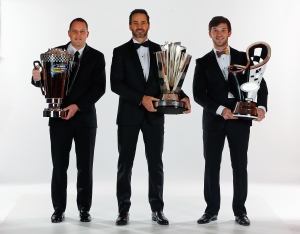 LAS VEGAS, NV - DECEMBER 02:  (L-R)NASCAR Camping World Truck Series Champion Johnny Sauter, NASCAR Sprint Cup Series Champion Jimmie Johnson, and NASCAR XFINITY Series Champion Daniel Suarez pose for a portrait prior to the 2016 NASCAR Sprint Cup Series Awards at Wynn Las Vegas on December 2, 2016 in Las Vegas, Nevada.  (Photo by Jonathan Ferrey/NASCAR via Getty Images)